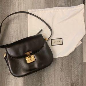 GUCCI Padlock Shoulder Bag Black Leather